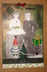 altered art christmas greeting card size 5x7 by flyingdreampost
