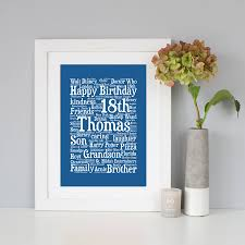 personalised 18th birthday word art gift by hope and love