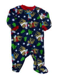 faded infant boys blue fleece moose sleeper