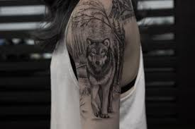 realistic wolf forest tattoo by bang bang