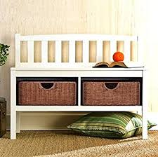 Small Storage Bench With Baskets Amazon Com Hampton Wooden Seat Storage Bench With Rattan Baskets