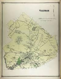 Massachusetts City Map by Historical Maps Waltham