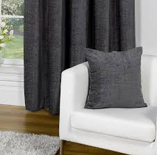 Charcoal Drapes Heather Plain Chenille Pencil Pleat Readymade Curtains Charcoal
