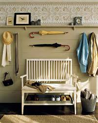 furniture storage bench short split seat storage gray wall paint