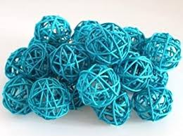 2 packages decorative spheres of 6 turquoise blue