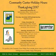 community center hours thanksgiving 2017