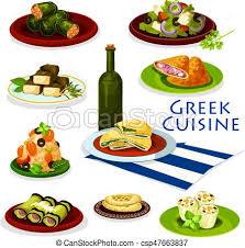 cuisine grecque cuisine grec nourriture saine conception dessin animé