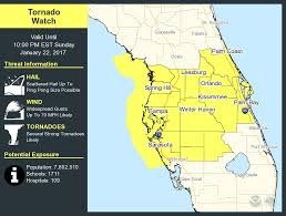 Map Of Melbourne Florida by Tornado Watch In Effect For Central Florida