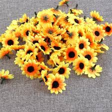 silk sunflowers 100pcs lifelike mini artificial flowers silk sunflowers heads