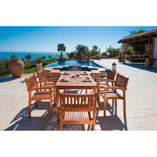 Outdoor Dining Room Vifah V98set10 Malibu 7 Piece Eco Friendly Wood Outdoor Dining Set