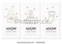 collection winter greeting card template winter stock vector
