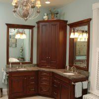 cherry wood bathroom mirror bathroom design and decoration using white wood framed corner