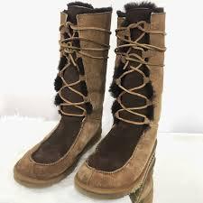 ugg shoes australia brown boots poshmark 79 ugg shoes ugg australia whitley lace up suede sheepskin