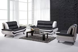 agreeable black and white leather sofa on apartement picture