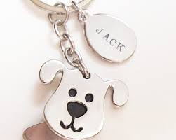australian shepherd keychain personalized dog keychain pet loss memorial gift hand stamped