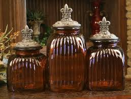 decorative kitchen canisters sets decorative glass canister set with fleur de lis lids set of