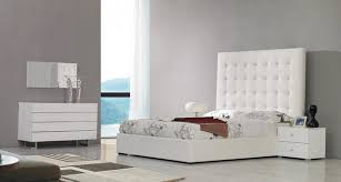 White Leather Tall Headboard Bed Contemporary Bedroom Los - White leather contemporary bedroom furniture