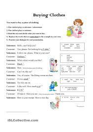 buying clothes role play exercise english language esl efl