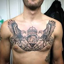 claddagh guys birds chest tattoos ลาย