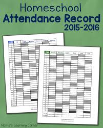 homeschool attendance record 2015 2016 free printable mamas