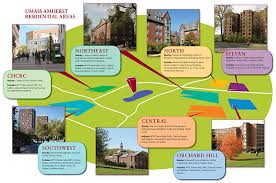 amherst map map of residence areas living at umass amherst