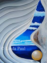 blue and white painting abstract contemporary seashell painting of shell in white and blue paint