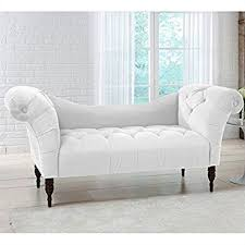Chaise Longue Sofa Bed Amazon Com Skyline Furniture Tufted Chaise Lounge In White
