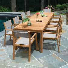 Country Outdoor Furniture by Teak Dining Tables Summit 10 Ft Rectangular Table Country Casual