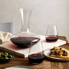 stemless wine glasses set of 2 and decanter blue apron