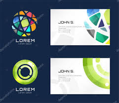 vector globe logo business card template abstract arrow design