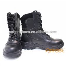 buy boots sa black leather combat boots high ankle safety shoes for security