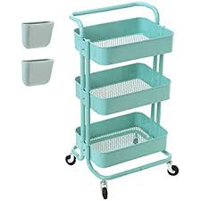 Rolling Bathroom Storage Cart by Amazon Com Hollyhome 3 Tier Rolling Cart Metal Utility Cart With