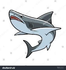 shark cartoon mascot angry grey reef stock vector 552683365