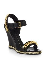 lyst giuseppe zanotti leather chain trimmed wedge sandals in