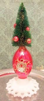 2 vintage shiny brite bottle brush tree glass ornament stripes