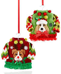 Ugly Christmas Sweater Decorations Holiday Lane Set Of 2 Ugly Christmas Sweater Ornaments Only At