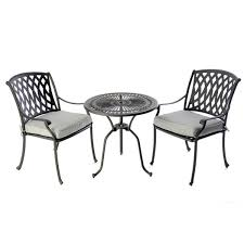 Black Bistro Table Bistro Table 2 Venetian Chairs Black 2 X Seat Pads Outside Edge