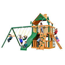 gorilla playsets chateau clubhouse with timber shield cedar