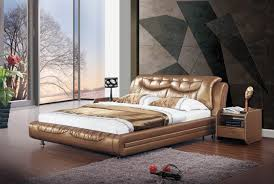 Modern Beds Gold Tone Leatherette Stylish Modern Bed