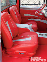 Classic Ford Truck Auto Parts - 1956 ford f100 pickup truck upholstered leather interior red