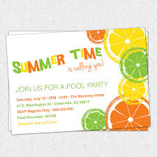 Invitation Card For A Birthday Party Citrus Invitation Summer Pool Party Lemon Lime Orange