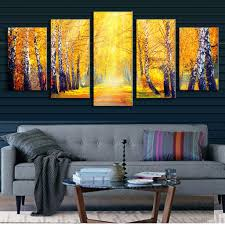 5 pcs set landscape fall in the forest printed canvas painting