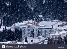st moritz hotel kempinski bad evening winter view stock photo