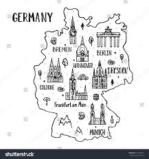 Map Of Germany With Cities Handdrawn Map Germany Main Symbols Lettering Stock Vector