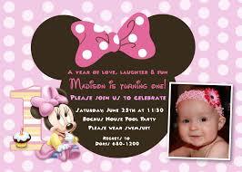 1st Birthday Invitation Card For Baby Boy Minnie Mouse 1st Birthday Invitations Birthday Party Invitations