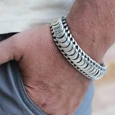 solid sterling silver bracelet images Snake scales men bracelet vy jewelry jpg