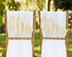 Bride And Groom Chair Mr Mrs Chair Sign Classic Gold Silver Bride And Groom Chair Signs