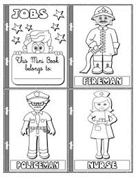 jobs and occupations colouring mini book 19 pages step by step