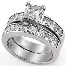 stainless steel wedding ring sets 3 75ct princess cut cz stainless steel wedding ring set edwin