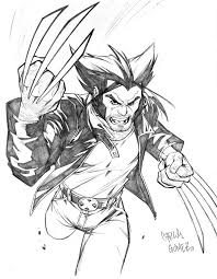 30 wolverine cartoon character sketches clip art library